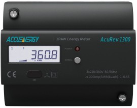 AccuEnergy AcuRev 1314-5A-X0 DIN Rail Multifunction Power/Energy Meter, 5A/1A Input CT, No Additional I/O