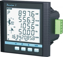 AccuEnergy Acuvim IIR-D-1A-P1 Intelligent LCD Power Meter with Datalogging, 1A Input, 100-415V AC, 50/60Hz, 100-300V DC