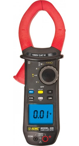 AEMC 405 True RMS Clamp Meter with Phase Rotation, 1000V AC/DC, 1000A AC/1500A DC