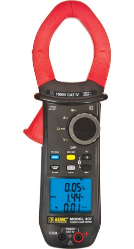 AEMC 407 Recording True RMS Clamp Meter with Harmonics, 1000V AC/DC, 1000A AC/1500A DC
