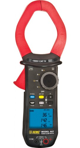 AEMC 607 True RMS Power Clamp Meter with Harmonics, 1000V AC/DC, 2000 AAC/3000A DC
