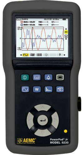 AEMC 8230 PowerPad Jr True RMS Power Quality Analyzer, Single Phase, 40 to 70Hz