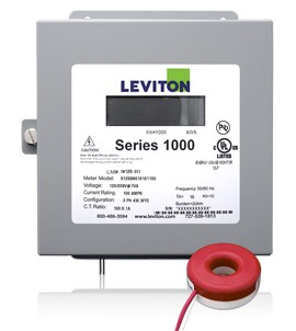 Leviton 1K120-1SW Indoor 120V Single Phase kWh Meter Kit, 100A, 1 Solid Core CT