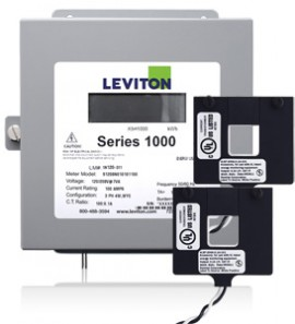 Leviton 1K240-01W Indoor 120/240V Single Phase kWh Meter Kit, 100A, 2 Split Core CTs