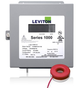 Leviton 1K277-2SW Indoor 277V Single Phase kWh Meter Kit, 200A, 1 Solid Core CT