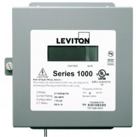 Leviton 1N240-08D Indoor Dual Element kWh/Demand Meter, MAX 800A, Meter Only