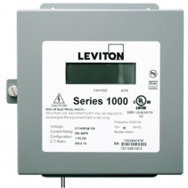 Leviton 1N480-02D Indoor Dual Element kWh/Demand Meter, MAX 200A, Meter Only
