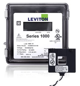 Leviton 1O120-01W Outdoor 120V Single Phase kWh Meter Kit, 100A, 1 Split Core CT