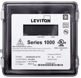 Leviton 1R240-021 Outdoor Dual Element kWh Meter, MAX 200A, Meter Only