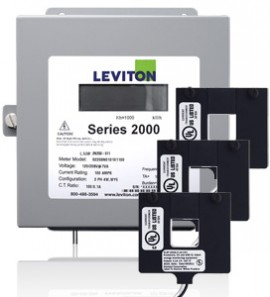 Leviton 2K480-01D Indoor Three Phase Demand Meter Kit, 277/480V, 100A with 3 Split Core CTs