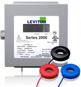 Leviton 2K480-1SW Indoor Three Phase Meter Kit, 277/480V, 100A with 3 Solid Core CTs