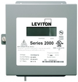 Leviton 2N208-011 Indoor Three Phase Element Meter, 120/240/208V, MAX 100A, Meter Only