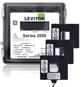 Leviton 2O208-02W Outdoor Three Phase Meter Kit, 120/208V, 200A with 3 Split Core CTs
