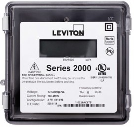 Leviton 2R208-121 Small Outdoor Enclosure 120/208V Three Phase Meter, MAX 1200A, Meter Only