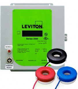 Leviton 3KUMT-1SM Indoor kWh Meter Kit, 100A with 3 Solid Core CTs