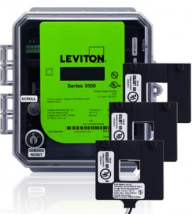 Leviton 3OUMT-01M Outdoor kWh Meter Kit, 100A with 3 Split Core CTs