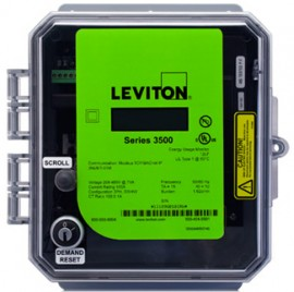 Leviton 3RUMT-04M  Outdoor kWh Meter, 400A, 208-480VAC, Meter Only