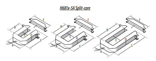 The Dimensions for the H681 Series of Split Core CTs