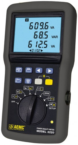 AEMC 8220 Single Phase Portable Power Analyzer, 40 to 70Hz-