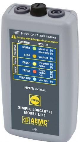 AEMC L111 Simple Logger II True RMS Datalogger, 1-Channel, 0-1A AC-