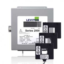 Leviton 2K208-1D VerifEye Series 2000 3P/4W Indoor Demand Meter Kit With 3  Split-Core Current Transformers, 208 V, 100 A