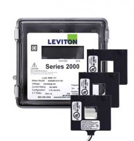 Leviton 2O208-1W VerifEye Series 2000 3P/4W Outdoor Meter Kit with 3 Split-Core Current Transformers, 120/208 V, 100 A-