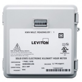 Leviton 6S101-D02 Single Element Mini Meter, 1P/2W, 120V, 0.1 kWh Resolution, Mechanical Counter, 200:0.1A Rated CT Required.-