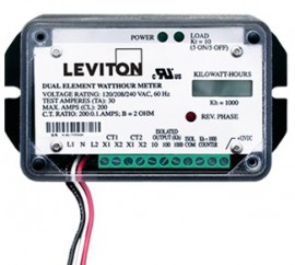 Leviton 7B201-H01 Dual Element Mini Meter OEM Module 1P/3W 120/240V 1kWh two 100A CTs Required-